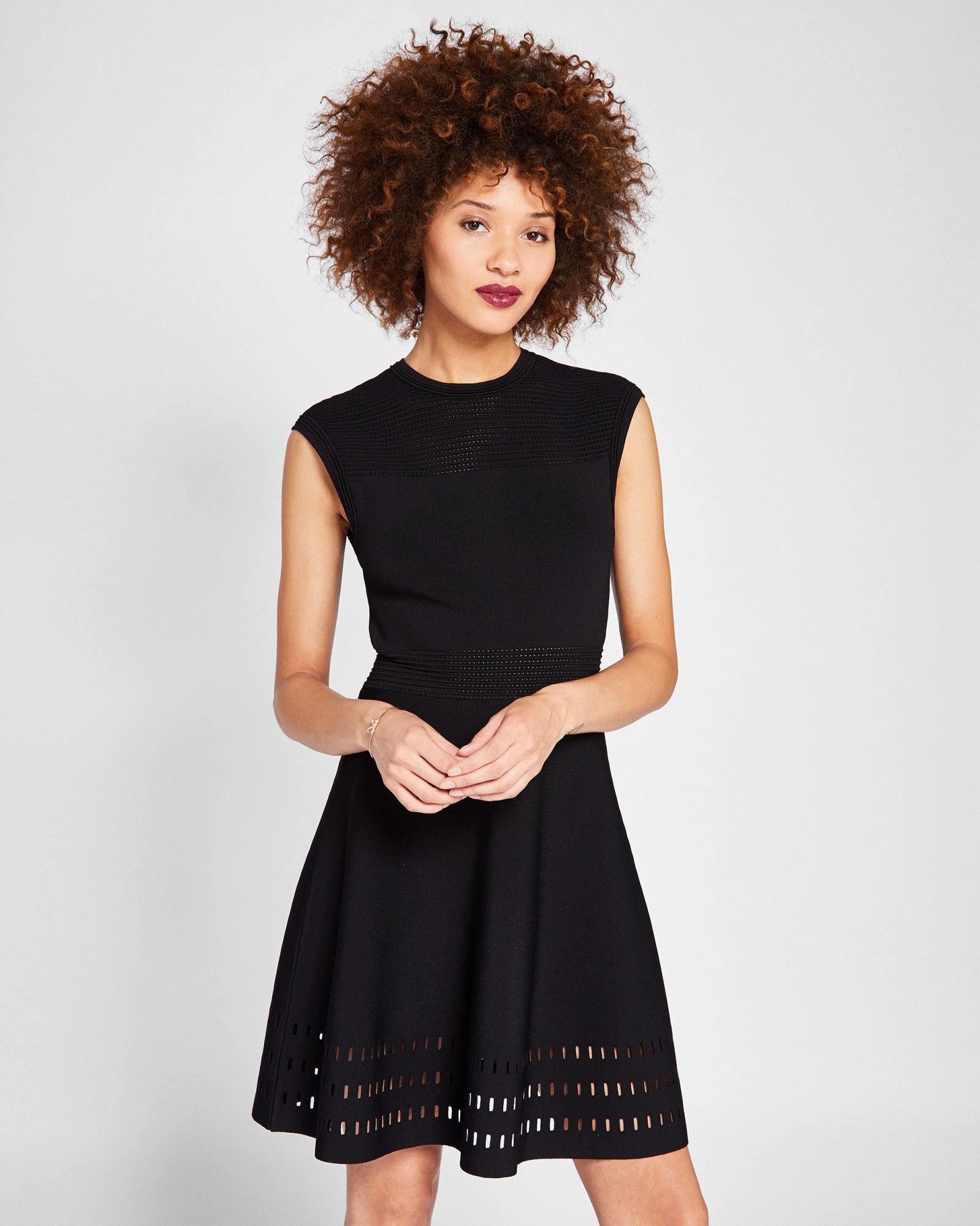 c5bb87bd35c20 Ted Baker Knitted skater dress Black