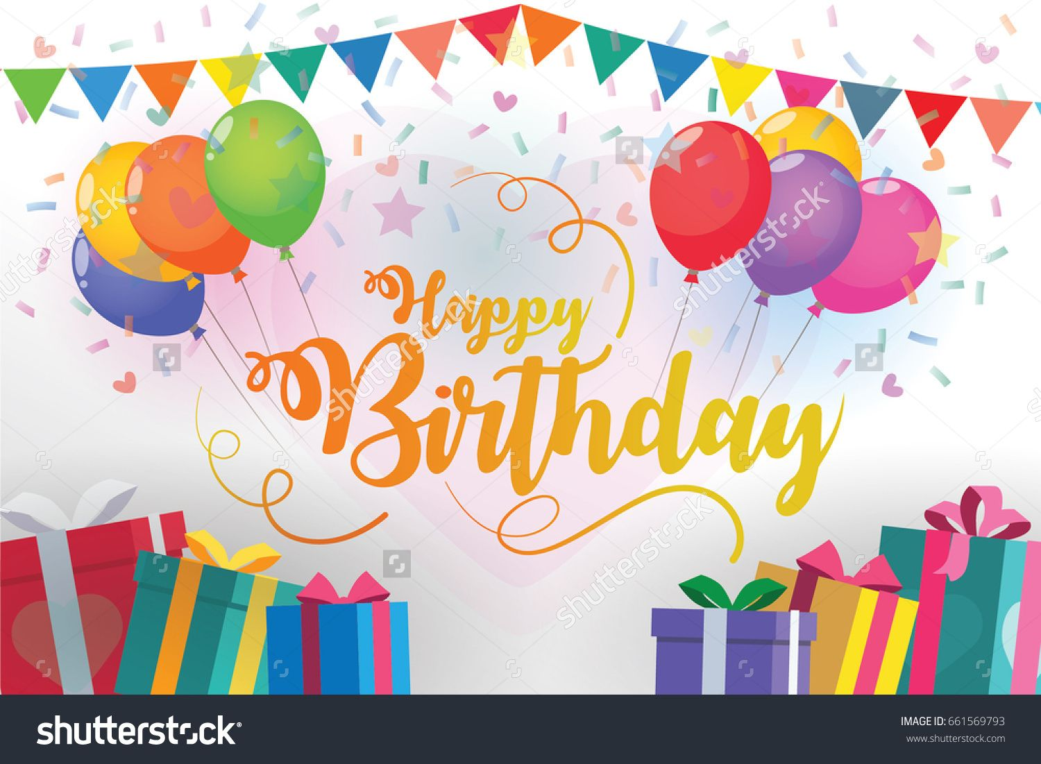 Happy Birthday Design Vector ~ Happy birthday typography with balloons and gifts vector design. for