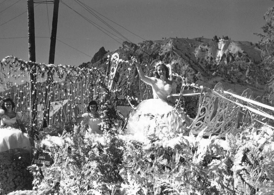 The Junior Catholic Daughters float won first place in the non-commercial division of the 1952 Apple Blossom Festival parade. Marcy Rooney was queen.