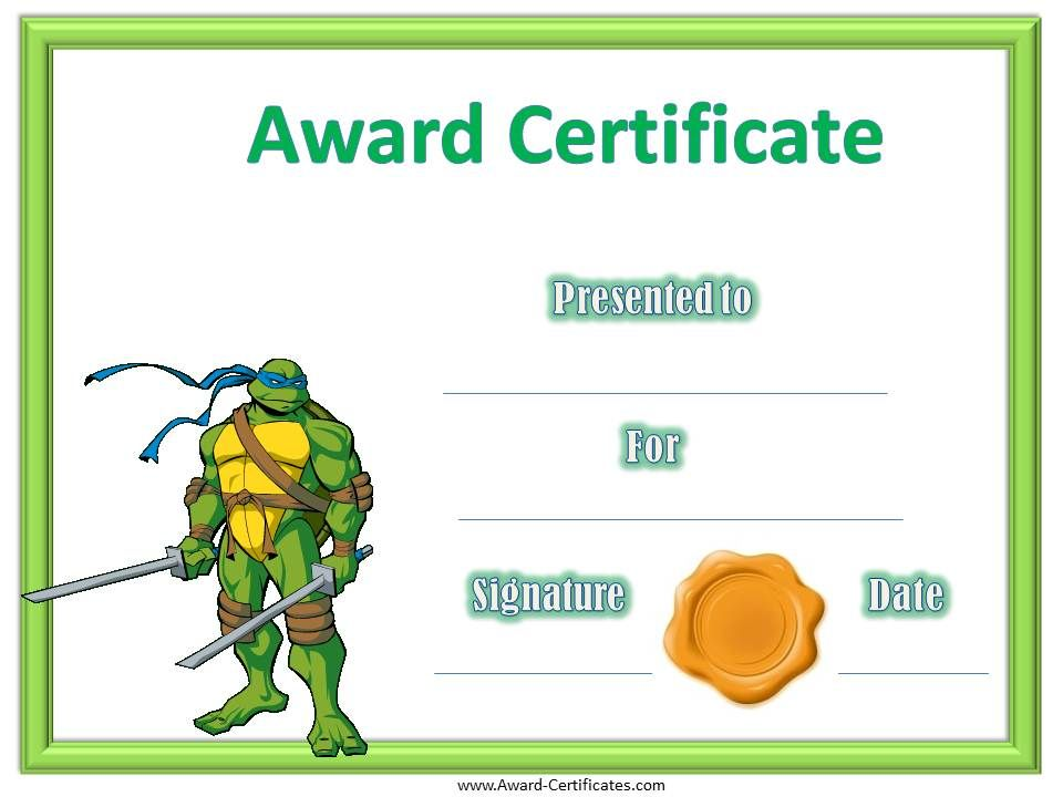 award-certificate-ninjaturtlesjpg 960×720 pixels Awards - copy free certificate of completion templates for word