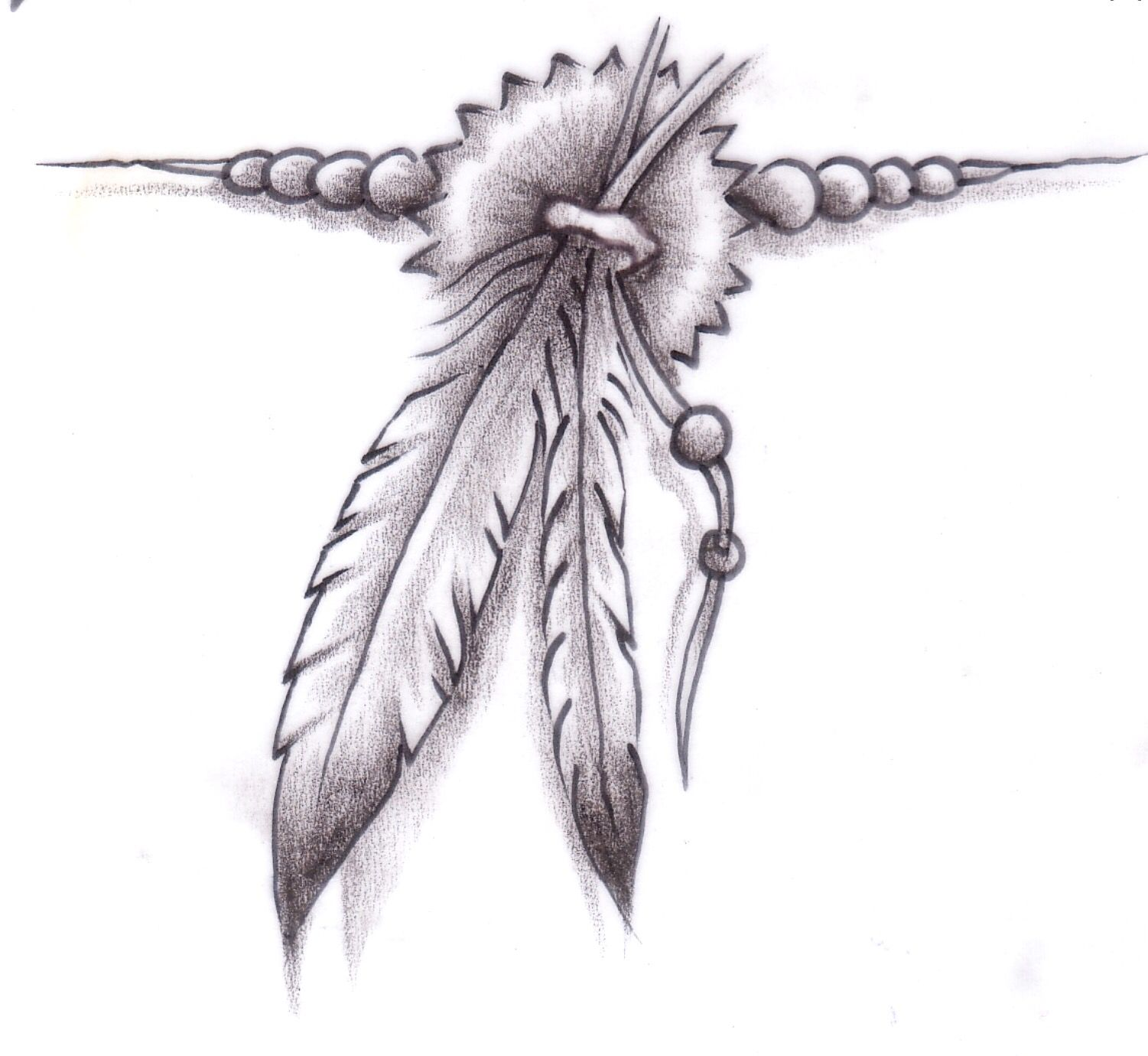 ded9c1a5c Feather with beads | Tattoos♥ | Feather tattoos, Native american ...
