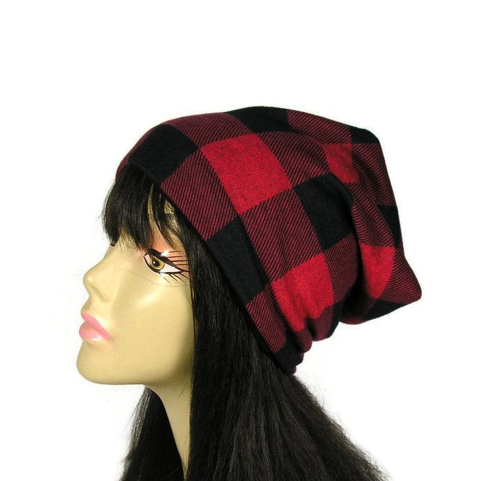 fac8137265d Buffalo Check Plaid Hat Buffalo Check Lined Slouchy Beanie Red Black Check  Slouch Hat Lumberjack Hat Lumberjack Slouch Hat Mens Slouch Hat by  LooptheLoop on ...