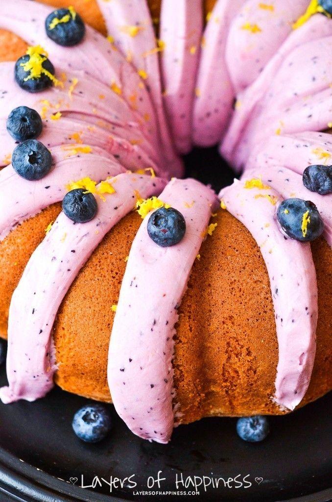 Lemon Blueberry Cake. Make a normal Lemon bundt cake recipe, not the box.