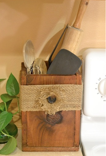 This Wooden Utensil Box Makes Such A Great Holder For Your