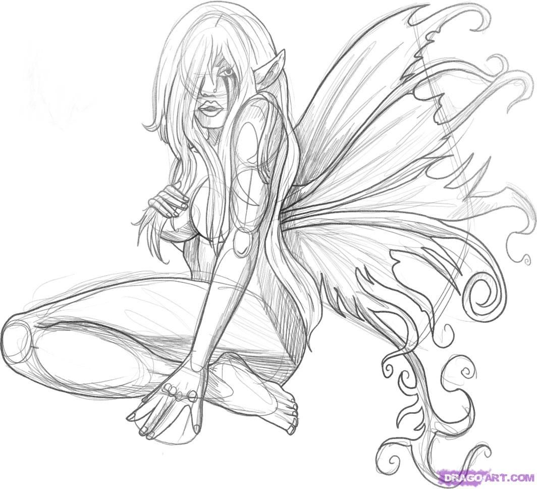 Bad Fairies and Pixies | how to draw a fairy tattoo step 6 | drawing ...