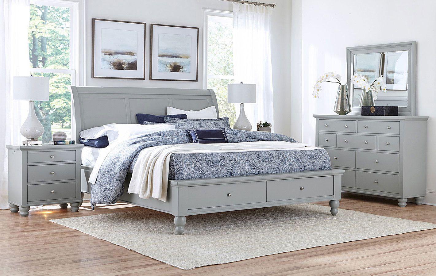 Cambridge Sleigh Storage Bedroom Set Light Gray Paint In 2020 Furniture King Storage Bed