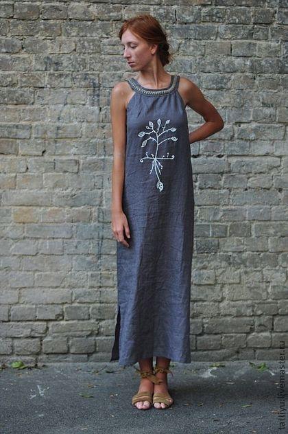 Платья ручной работы. Ярмарка Мастеров - ручная работа Платье льняное с  косичкой KOSTENKO. Handmade cc4107e3b77