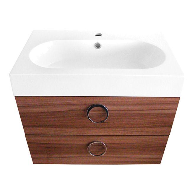 Meuble-lavabo 1 tiroir et évier « Relax » - Noyer S-d-b