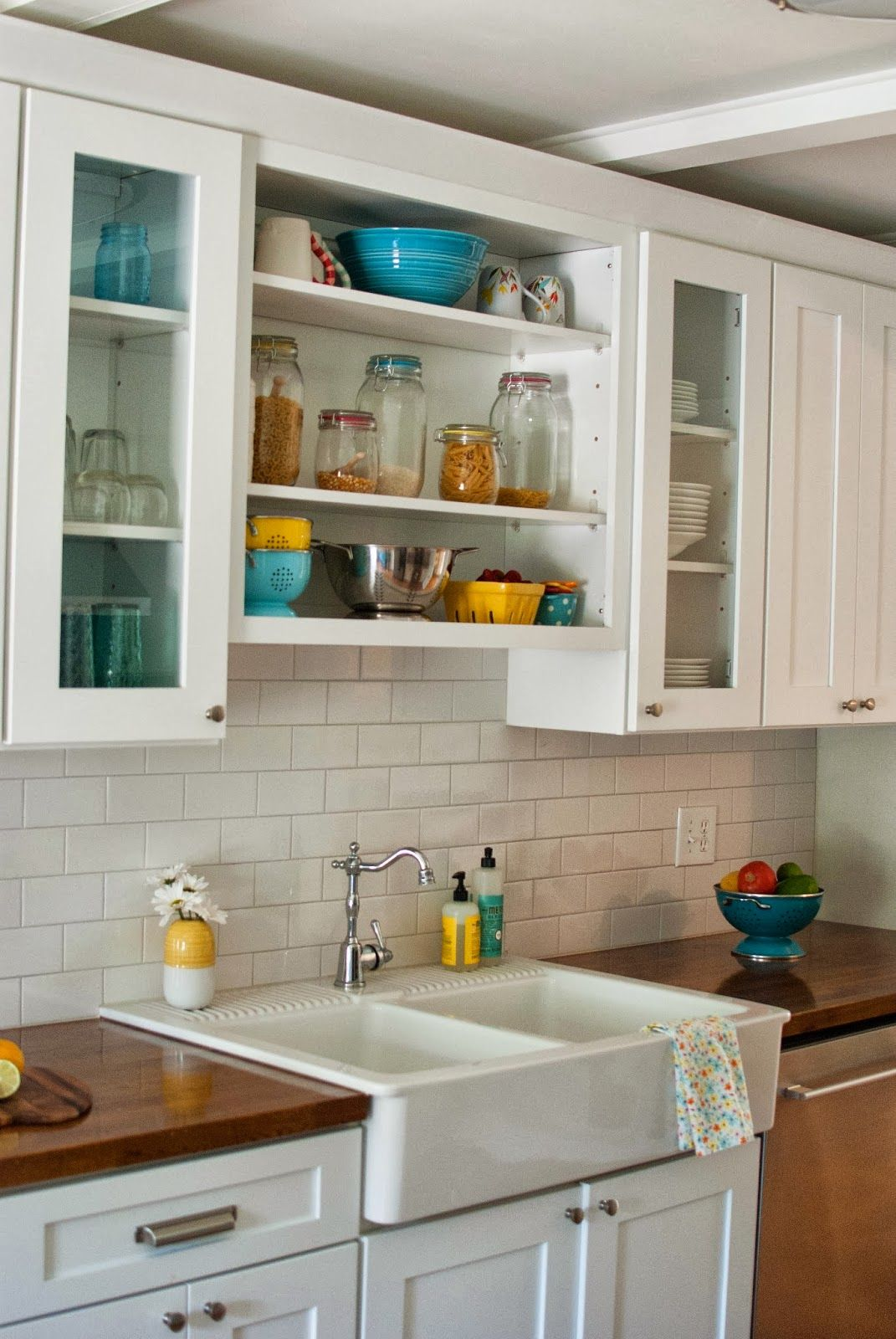 subway tile backsplash with butcher block Google Search cool