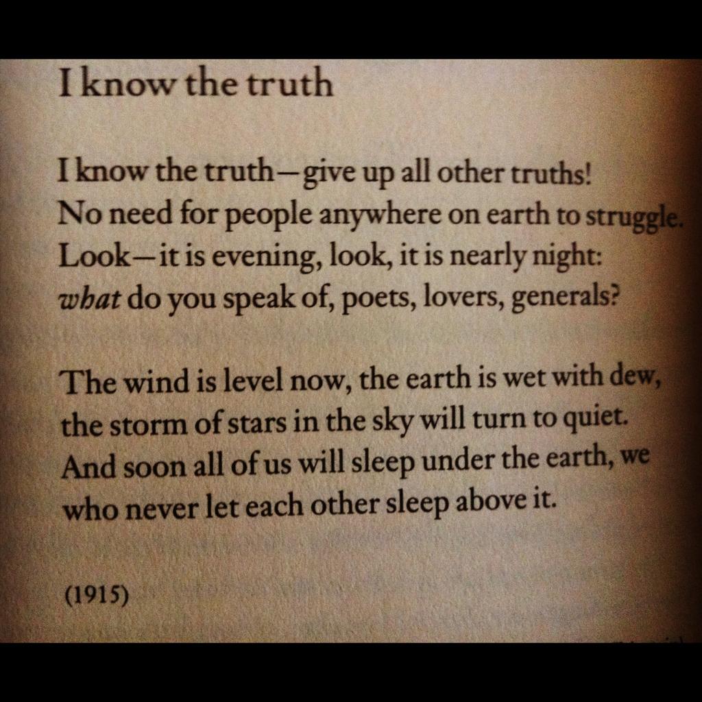 I Know The Truth By Marina Tsvetaeva 1892 1941 I Know