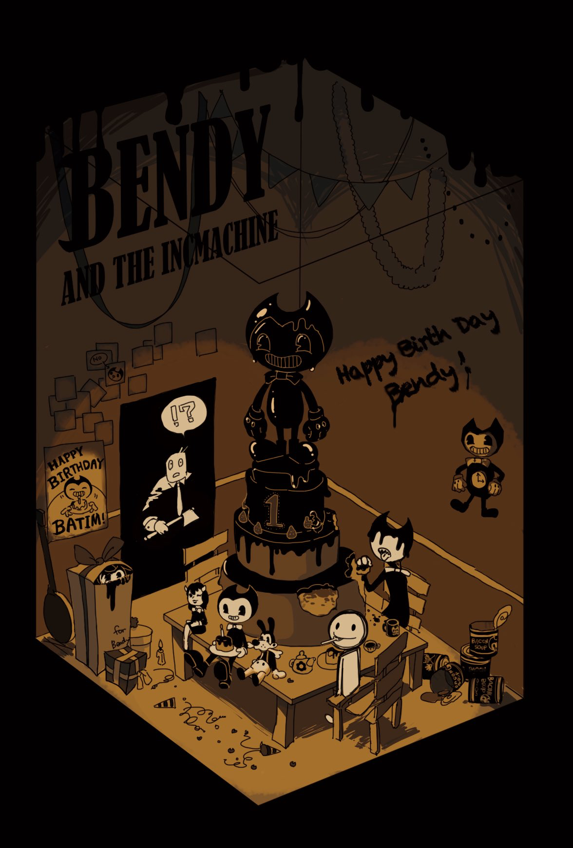 Sammy Hiding In The Box Waiting Bendy And The Ink Machine Game Art Fan Art