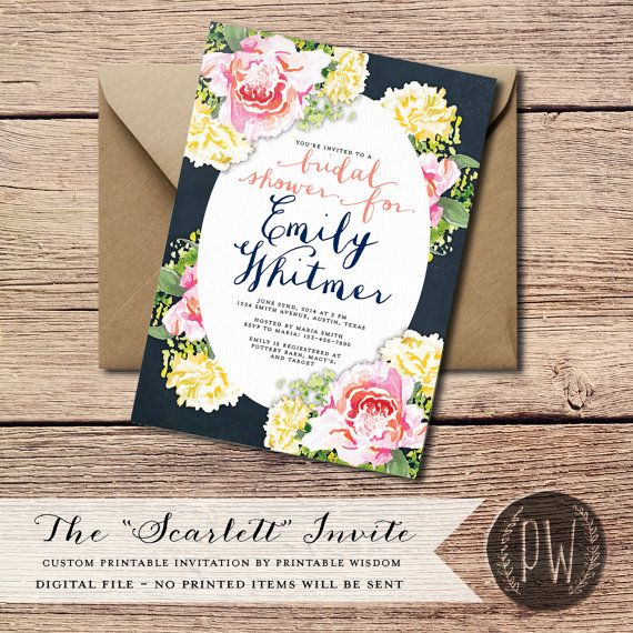 Bridal Shower Invitation Printable Wedding Shower Invitation invite, DIY chalkboard invitation, printable bridal invite floral flowers PDF