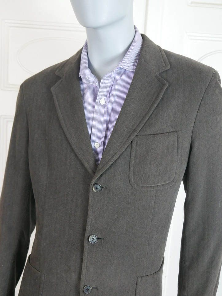 European Vintage Hugo Boss Blazer Men's, Brown Cotton-Wool Blend Jacket,  Three-Button Blazer, Herringbone Sports Coat: Size 42 (US & UK)