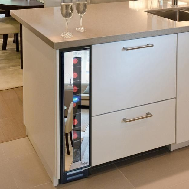 a narrow cooler by Vinotemp, the company selling wine cabinets, wine coolers,  wine racks, custom wine cellars and wine