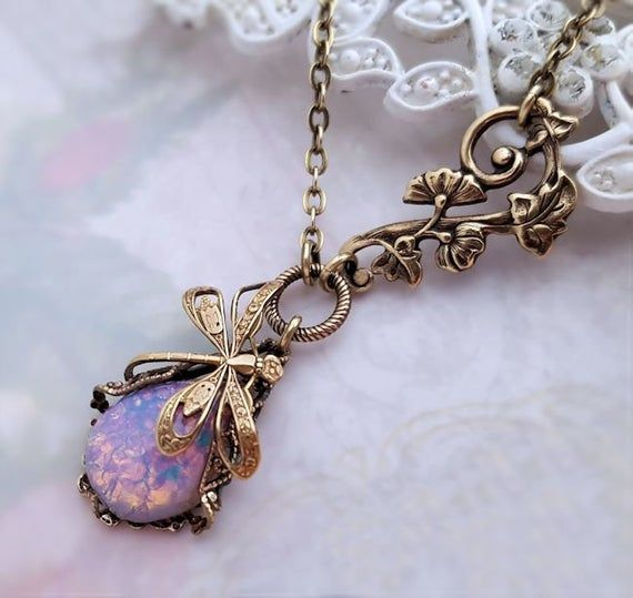 Fire Opal Dragonfly Necklace Lalique Art Nouveau Inspired