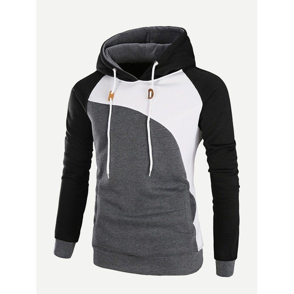 f2cd40ef20 Men Cut And Sew Panel Hooded Sweatshirt | MEN'S SWEATERS & HOODIES ...