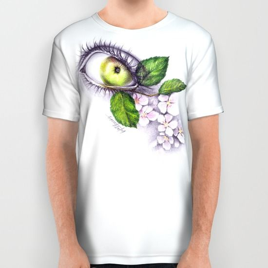 #alloverprint #tshirt #eye #apple #blossom #clothing #surreal