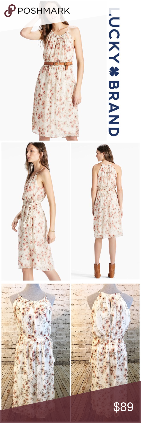 19194ac70499 Lucky Brand Carmen Neutral Chiffon Floral Dress L Lucky Brand Carmen Dress  - Neutral Enchant in modern florals and crinkled chiffon.