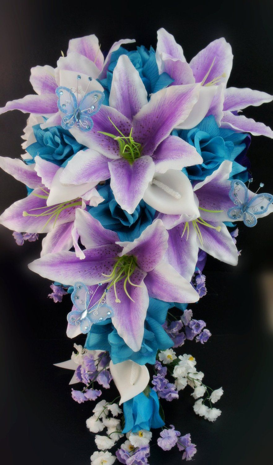 13pc Wedding Bridal Flowers Bouquets Boutonniere Turquoise Purple Silk Roses Home Kitchen
