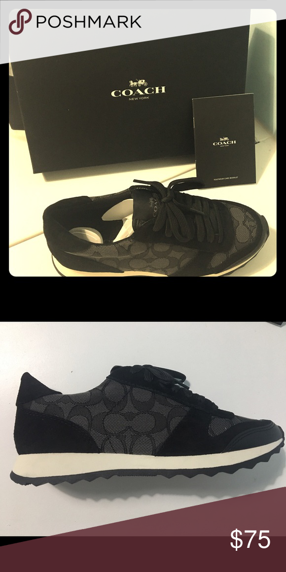 New in box Coach shoes New in box. Size 6 women's Mason black smoke jacquard suede Coach shoes. MSRP $135 Coach Shoes
