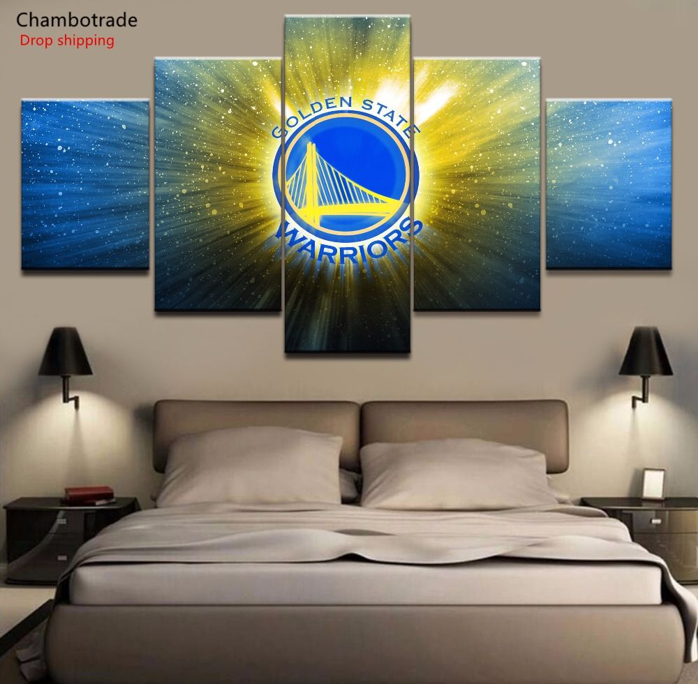 5 Piece Hd Print Painting Golden State Warriors Poster Painting On Canvas Room Wall