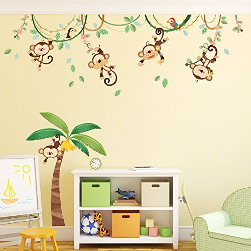 decowall dm 1507 monkeys auf rebe wand aufkleber abziehbild kindergarten dekor wandtattoo. Black Bedroom Furniture Sets. Home Design Ideas
