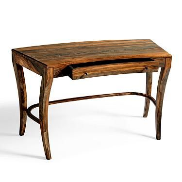 Nielson S Elegant Curved Form Is Crafted From Solid Sheesham Wood With A Banded Grain Pattern Desk Grandin Road