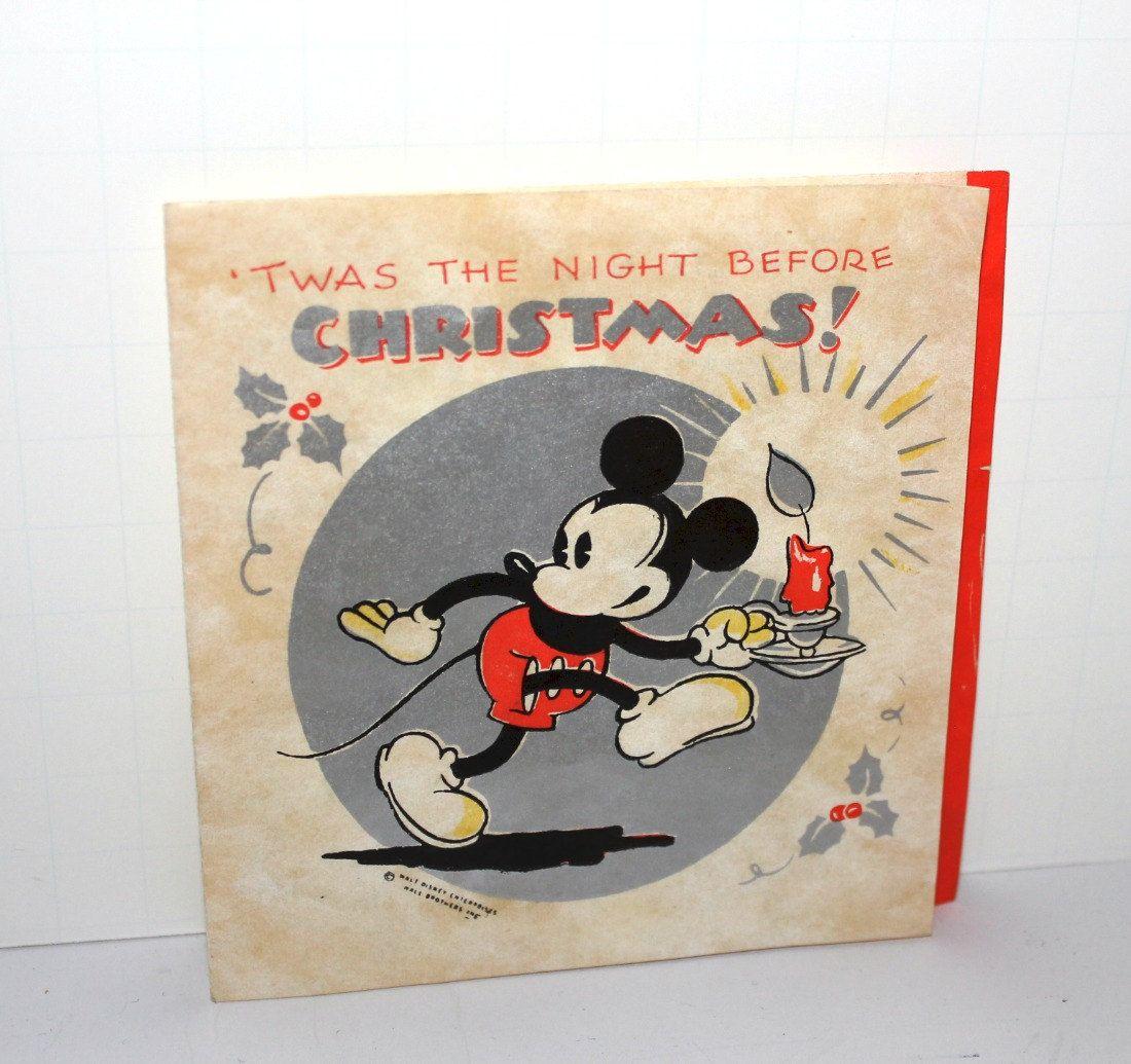 Vintage Mickey Mouse Christmas Card Walt Disney Night