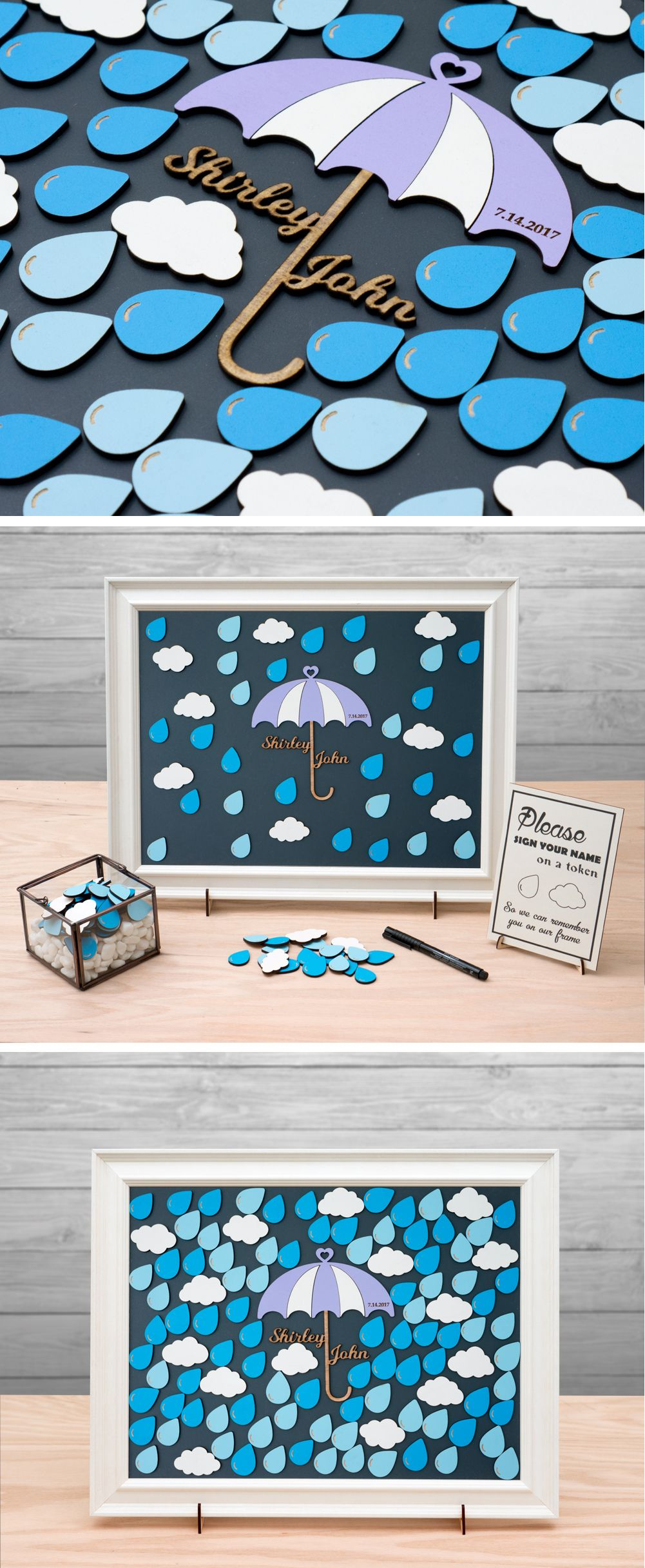 Weather Theme, Rain Drops, Shower, Sprinkle Umbrella Guest Book Alternative/ Customizable Unique Sign In Guest Book Frame by TokenGram