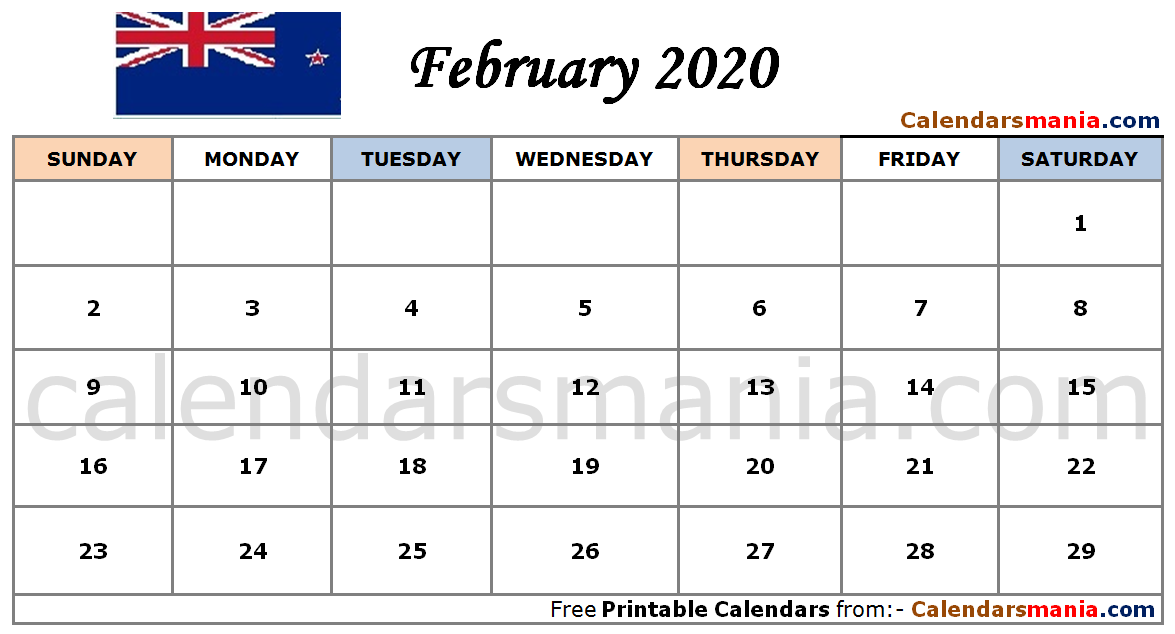 Table Calendar 2020 February 2020 Calendar NZ | February 2020 Calendar | Calendar 2019