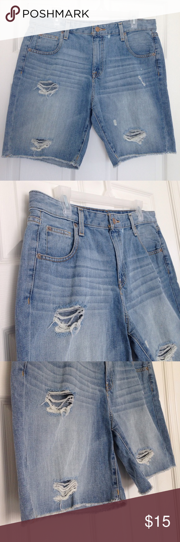 """Distressed Denim Boyfriend Short 100% cotton. Distressed as style. Pockets. Relaxed fit. Measurement laying flat: waist: 17.5"""" inseam: 8"""" length: 18"""". No stains or holes. Mossimo Supply Co. Shorts"""