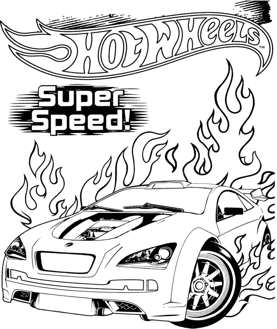Hot wheels super speed coloring page olius birthday pinterest