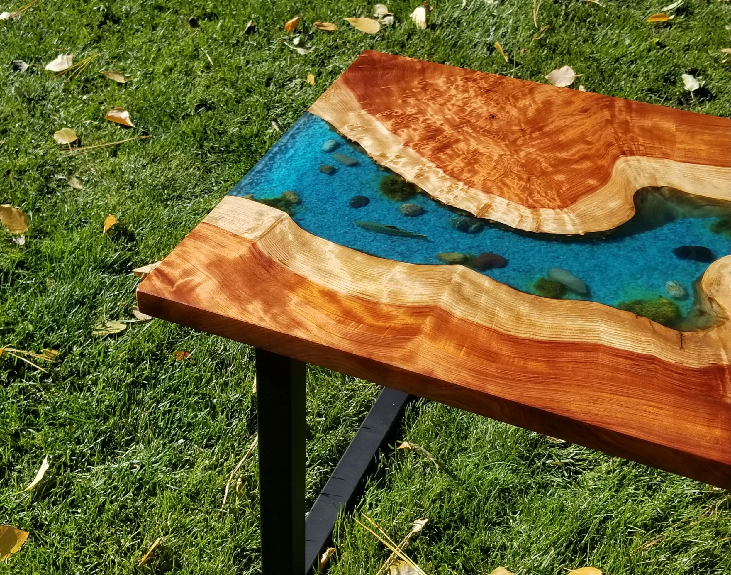 SOLD Epoxy river and live edge Redwood burl coffee table