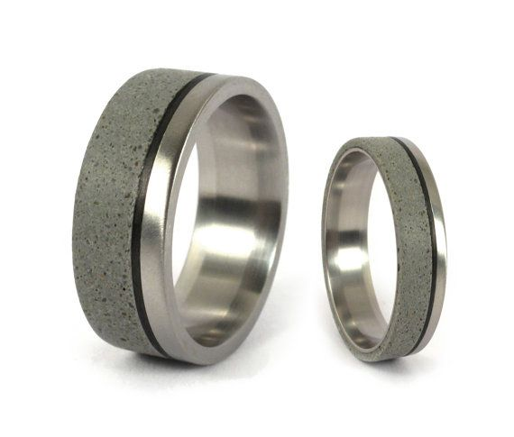 Matte Titanium And Gray Concrete Wedding Ring Set With Carbon Etsy Concrete Wedding Ring Concrete Wedding Band Carbon Fiber Rings