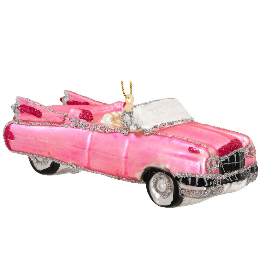 Pink Roadster Glass Ornament Unusual Christmas Decorations Christmas Ornaments Personalized Christmas Ornaments
