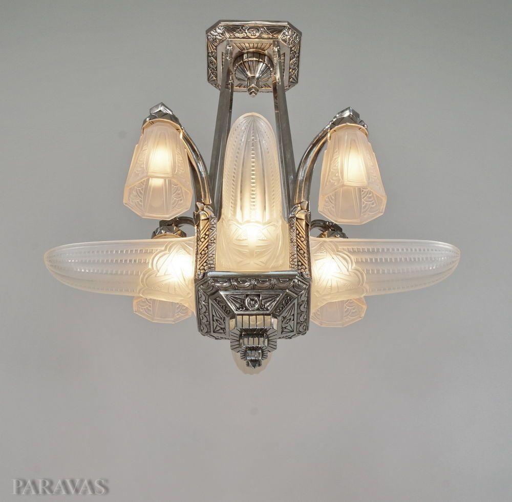 schneider french art deco chandelier bronze. Black Bedroom Furniture Sets. Home Design Ideas