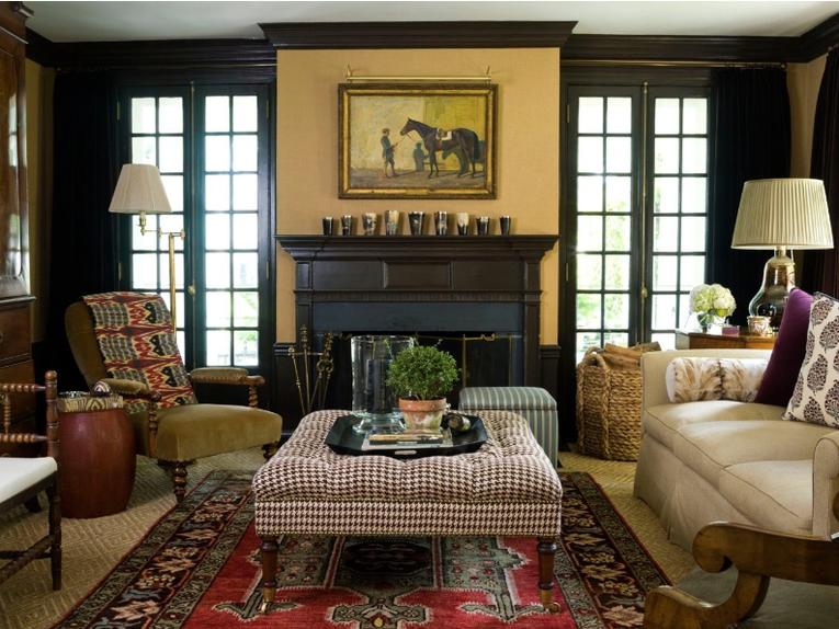 Charlotte barnes interior design portfolio interiors traditional contemporary eclectic transitional library family room living media also rh pinterest