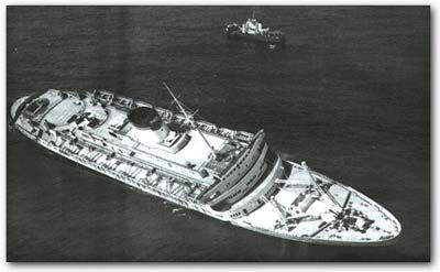 The Andrea Doria starting to sink after collision with the Stockholm