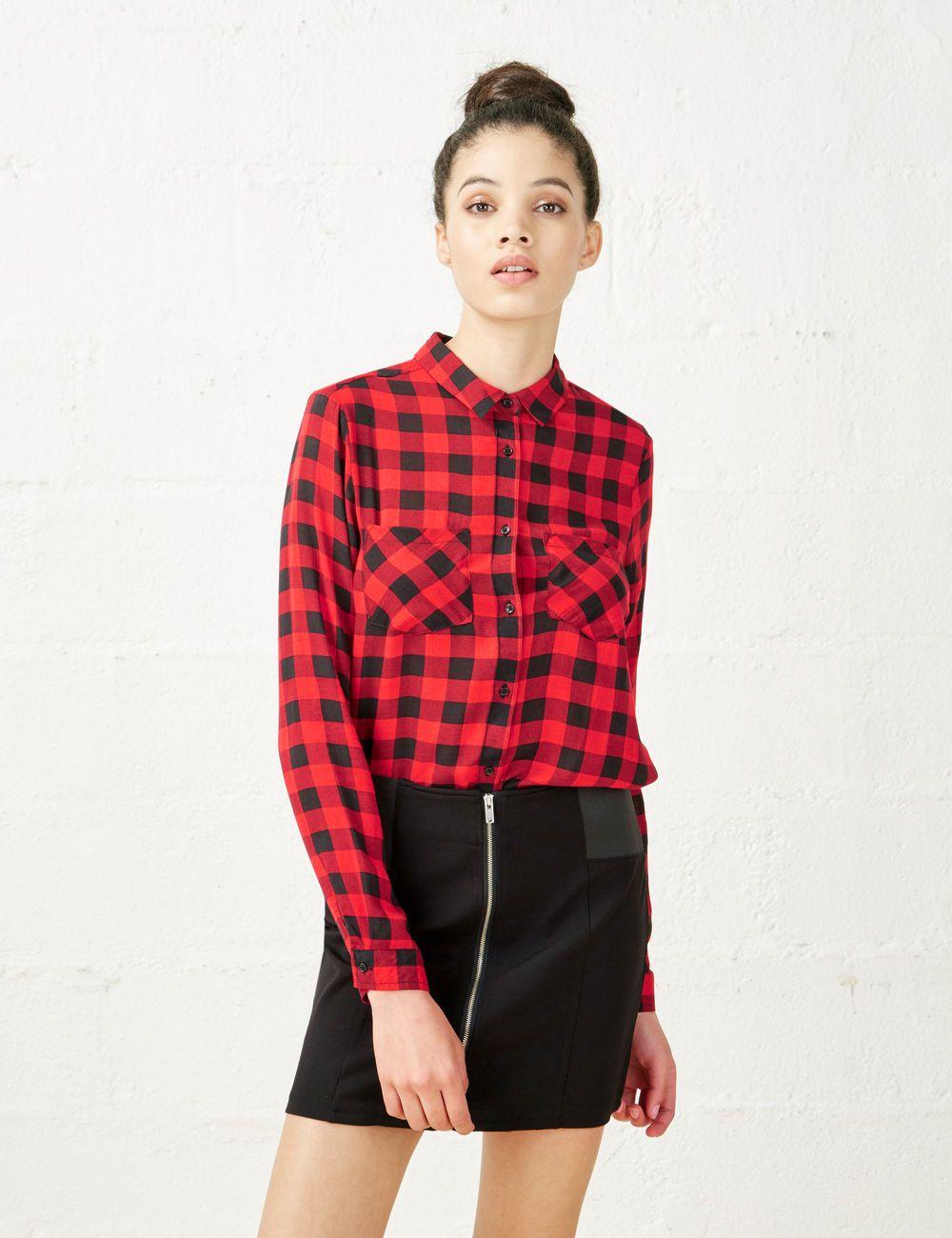 Chemise carreaux rouge et noir femme jennyfer mode - Mode carreaux ...