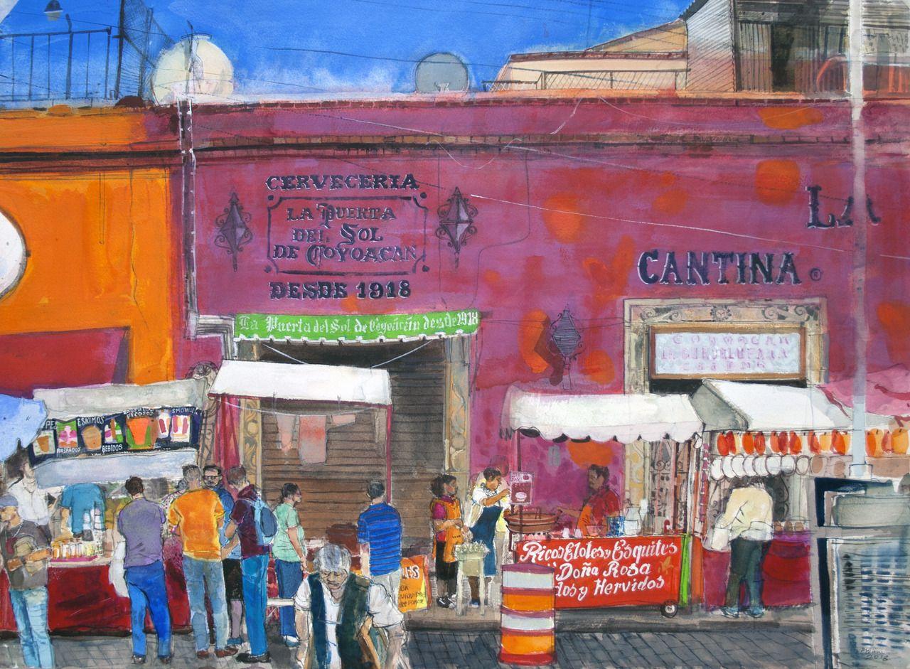 Calle Caballocalco Mexico City Watercolour Peter Quinn Rws 55x76cm Painting Landscape Paintings City Landscape