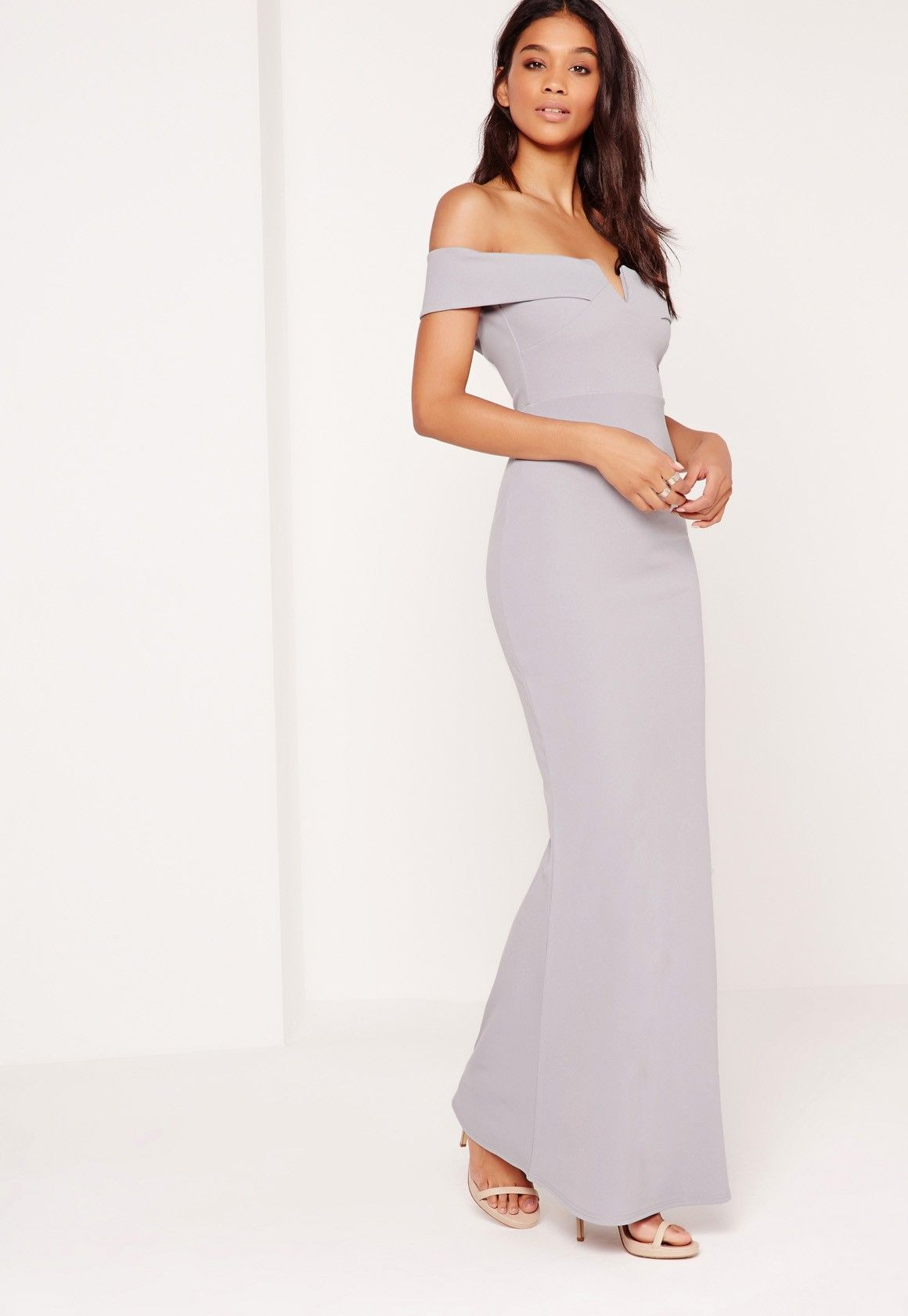 Missguided crepe bardot v plunge maxi dress grey dresses