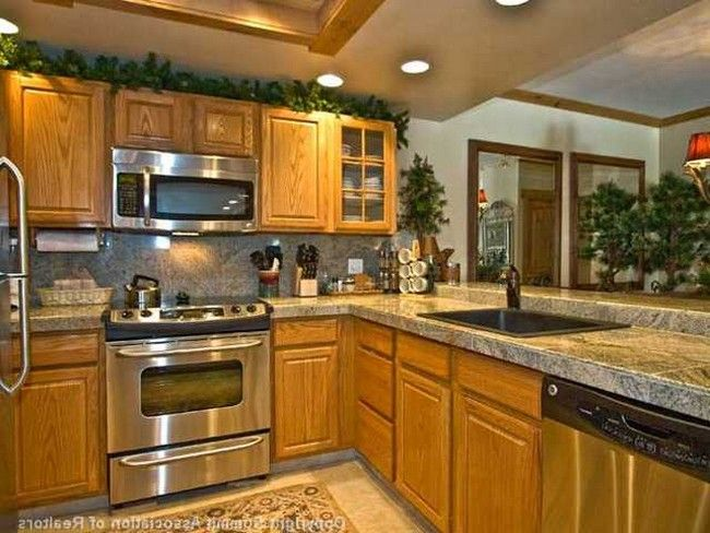 backsplash for kitchen with honey oak cabinets Google Search