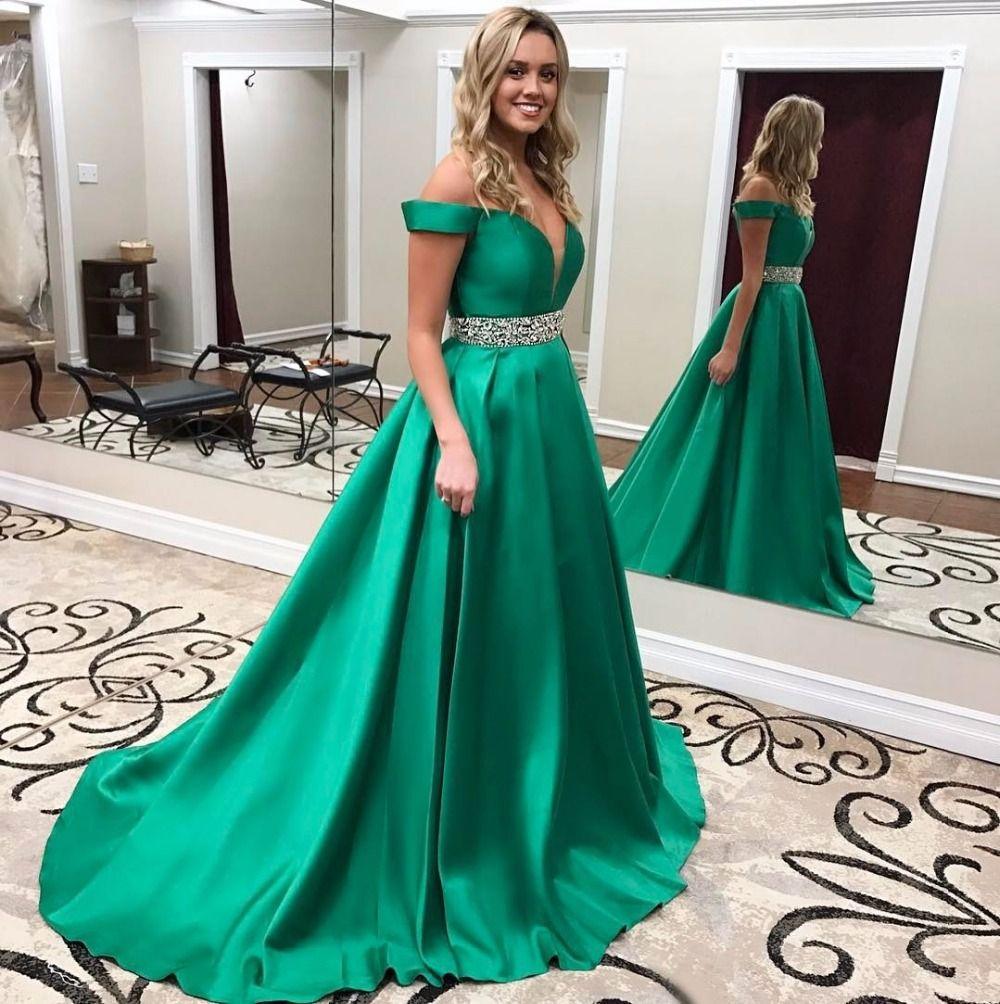 2017 Sweetheart Neck Green A-line Long Prom Dresses Beaded Zipper ...