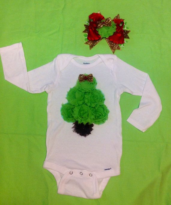 Girls Christmas outfit 2pc Christmas tree Outfit by MizThings