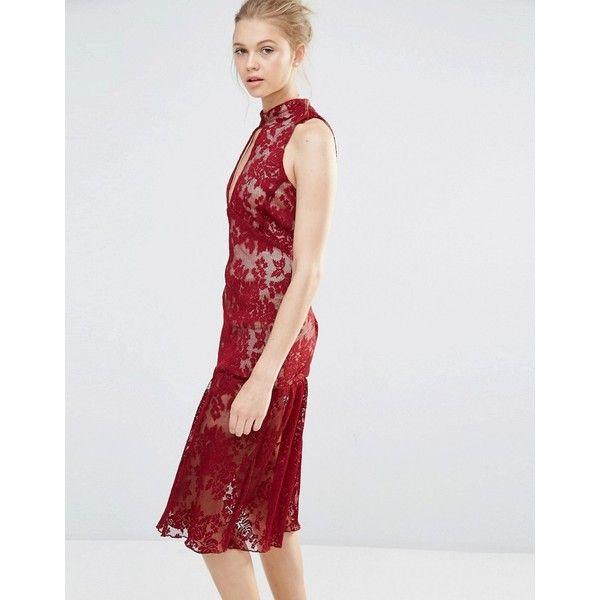 Frill Hem Key Hole Lace Dress - Burgundy endless rose Z9E6e