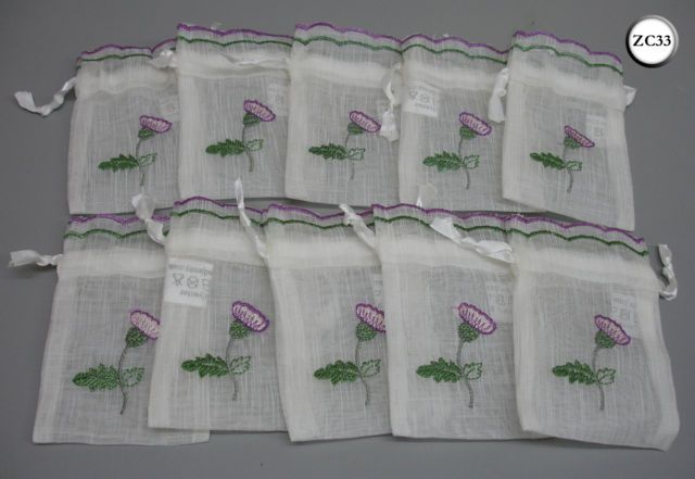 Scottish Wedding Gifts: 10 Thistle Embroidered Scottish Wedding Favour Drawstring