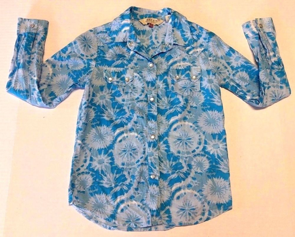 Roper Girls Blue Tie Dye Dandelion Rodeo Western Snap Button Long Shirt Small #Roper #DressyEveryday