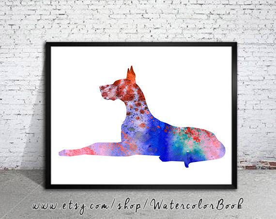 Great Dane Dog Watercolor Print Children S Wall Art Home Decor