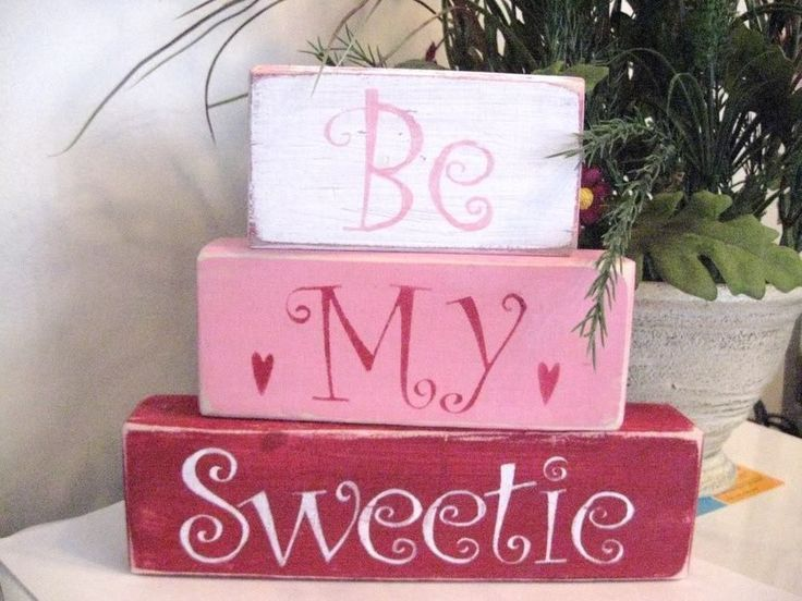 Details about Primitive Valentine Shelf Blocks Be My Sweetie Hearts - Rustic valentine, Valentine wood crafts, Valentines sign, Primitive valentine decor, Rustic valentine decor, Diy valentines decorations -
