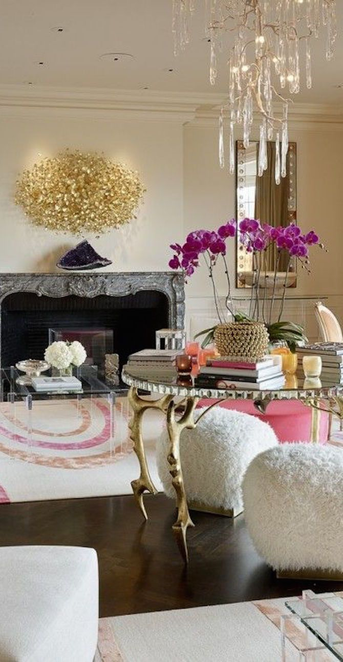 a chic contemporary yet curvy french styled room that says